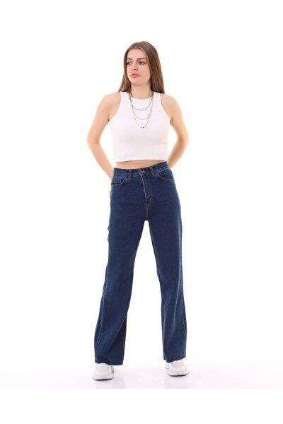 Kadın Mavi Kot Bol Paça Yüksek Bel Jeans Pantolon