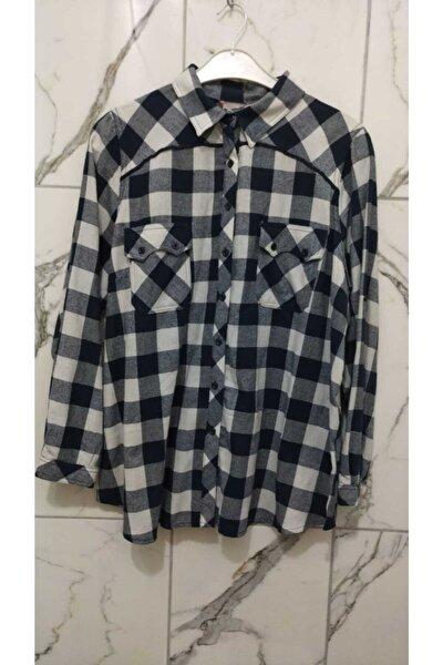 Kadın Lacivert Oduncu Gömlek