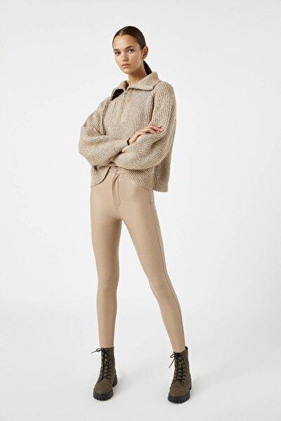 Kadın Camel Suni Deri Skinny Fit Pantolon 09672304
