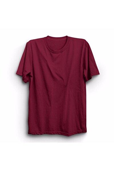 Unisex Bordo Düz Renk Basic Baskısız Tişört