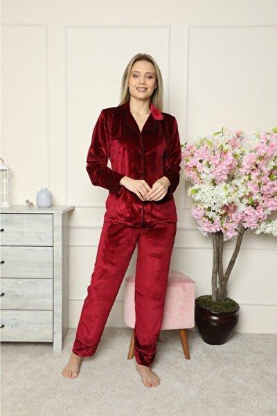 Kadın Bordo Siyah Şık Boydan Düğmeli Pijama Takım
