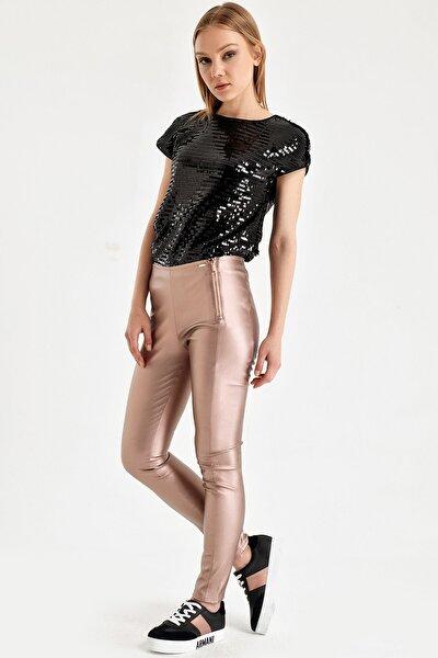 Kadın Metalik Bronz Pantolon