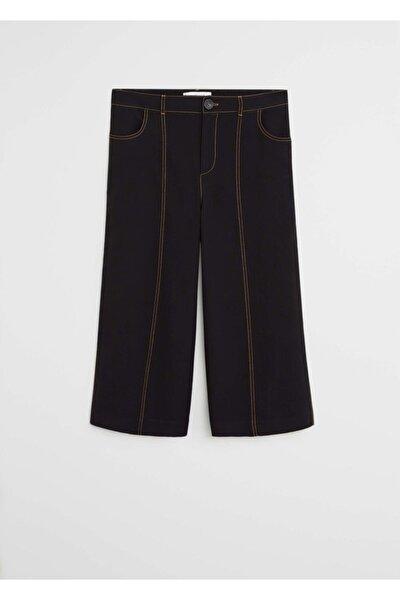 Kadın Siyah Dikiş Detaylı Pantolon Etek 67045966