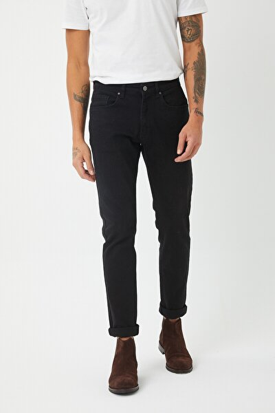 Erkek Siyah Slim Fit Essentials Jean Pantolon
