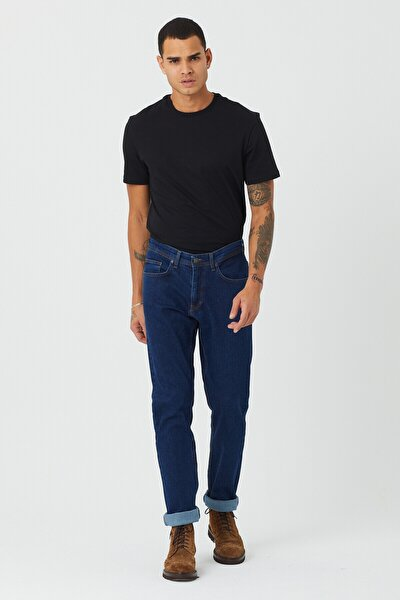 Erkek Koyu Mavi Basic Regular Fit