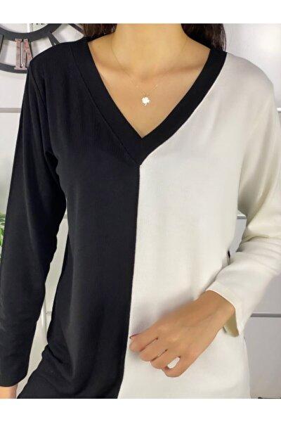 Kadın Siyah Beyaz V Yaka Garnili Bluz