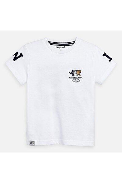 Erkek Çocuk Beyaz Sırt Baskılı Kısakol Tshirt