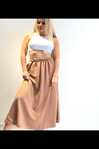 Kadın Kahverengi Uzun Lastikli Penye Etek