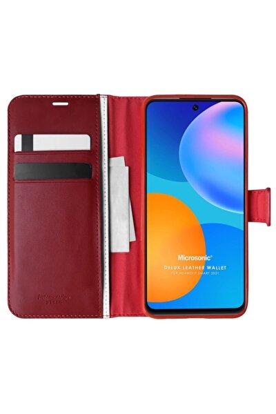 Microsonic P Smart 2021 Kılıf Delux Leather Wallet Kırmızı