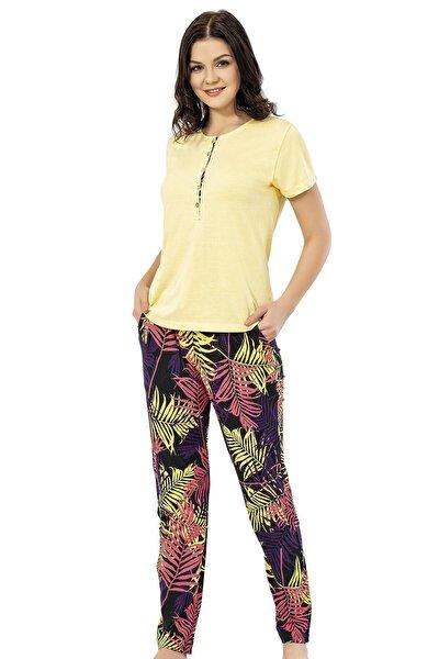 Kadın Sarı Yazlık Pijama Takımı