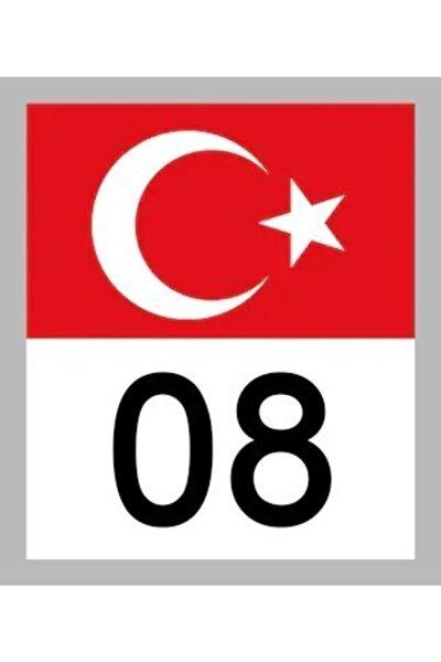 08 Artvin Türk Bayrağı Ve Plaka Kodu Ön Cam Sticker Yapıştırma