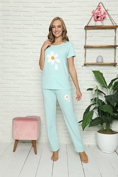 Kadın Papatya Baskılı Mavi Pijama Takımı