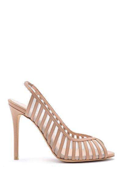 Kadın Ten Deri Topuklu Ayakkabı
