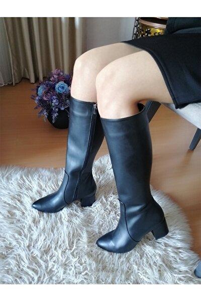 Siyah Deri Çorap Çizme Kalın Topuklu Yandan Fermuarlı