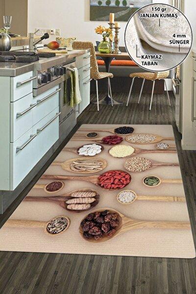 Dekoratif Yıkanabilir Kaymaz Tabanlı Mutfak Halısı