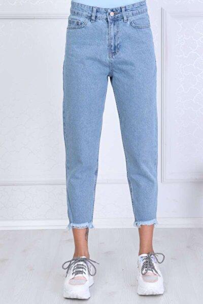 Kadın Mavi Mom Style Paça Püskül Detay Jean
