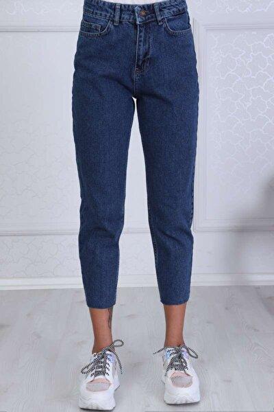 Kadın Lacivert Mom Style Paça Kesik Detay Jean