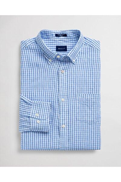 Erkek Mavi Regular Fit Keten Gömlek