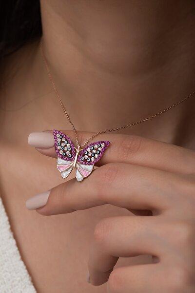 Kadın Pembe Taşlı Kelebek Kolye Gümüş Kolye 925 Ayar