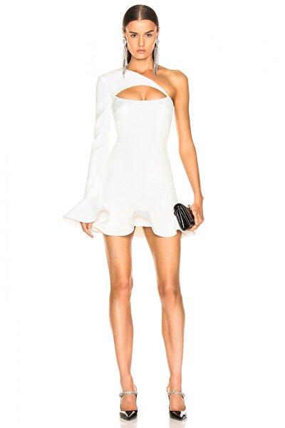 Kadın Beyaz Asimetrik Kesim Göğüs Dekolteli Volanlı Elbise 4538003