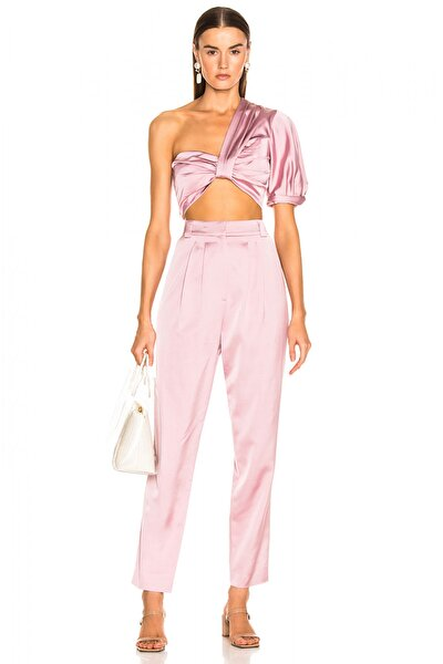 Kadın Pembe İpek Saten Crop Ve Pantolon Takım 4537976