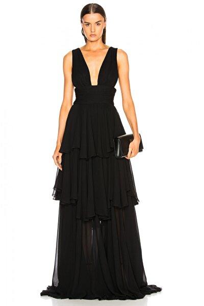 Kadın Siyah İpek Şifon Büzgülü Maxi Elbise 2999447