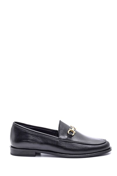 Kadın Siyah Deri Loafer