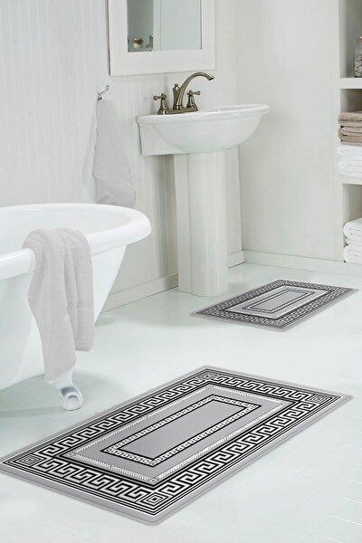 60x90 - 50x60 Helsinki Grey Dijital Banyo Halısı Klozet Takımı 2'li Paspas Seti