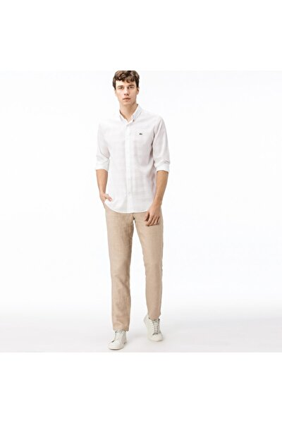 Erkek Regular Fit Keten Bej Pantolon