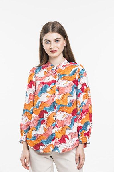 Kadın Renkli Önü Düğme Detaylı Gömlek