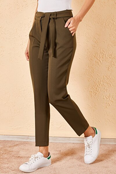 Kadın Haki Bel Kuşaklı Klasik Pantolon