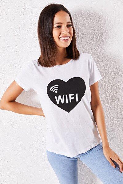 Kadın Beyaz  Eşli Wifi Baskılı T-Shirt