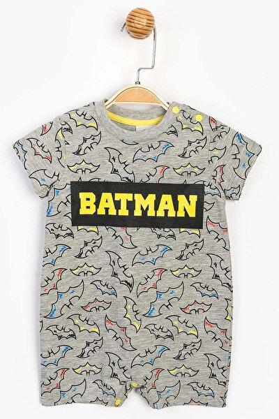 Batman Erkek Bebek Gri Pamuklu Kısa Şort Tulum SUM-15580