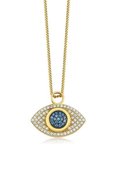 Mavi Nazar Gözü, Swarovski Zirkon Mavi Ve Beyaz Taşlı, Altın Rengi Gümüş Kolye