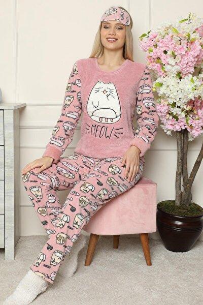 Pembe Big Cat Desenli Kadın Peluş Pijama Takımı