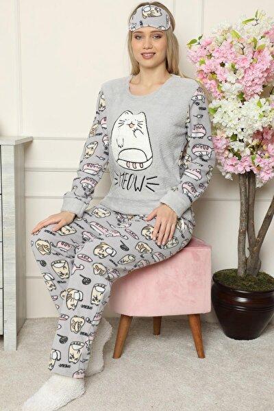 Big Cat Desenli Kadın Peluş Pijama Takımı