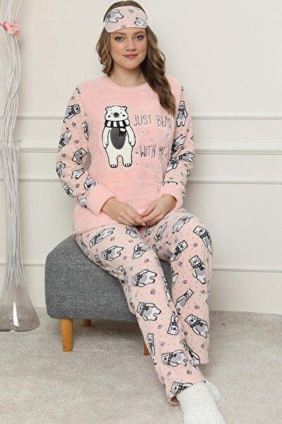Just Bear Desenli Kadın Peluş Pijama Takımı