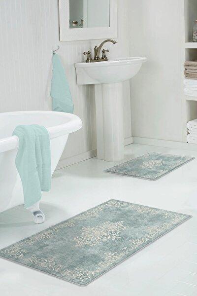 60x90 - 50x60 Classic Blue Dijital Banyo Halısı Klozet Takımı 2'li Paspas Seti
