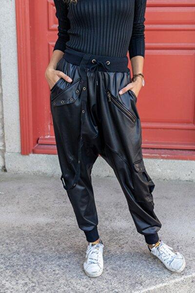 Kadın Siyah Zımbalı Şerit Detaylı Şalvar Deri Pantolon GK-RSD2014