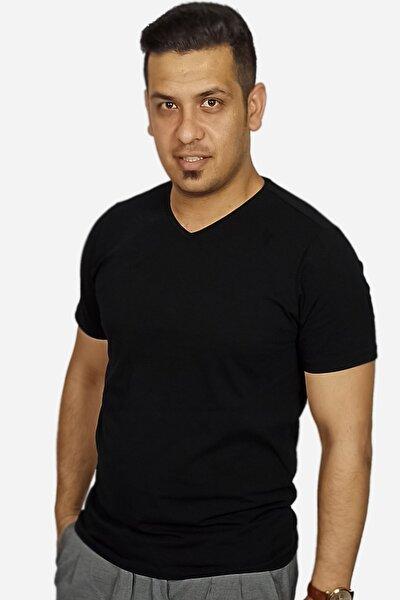 Erkek Siyah V Yaka Klasik 2 Siyah 1 Beyaz T-shirt