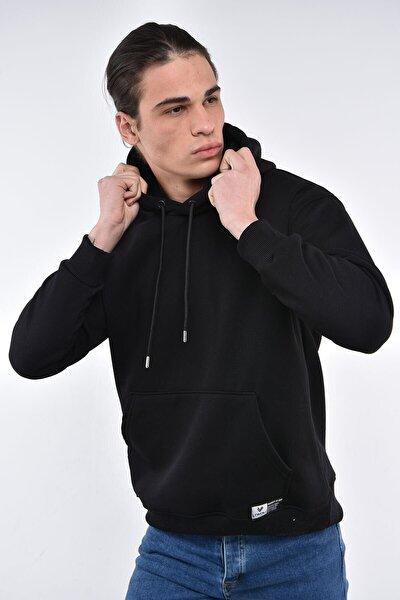 Erkek Siyah Oversize Kapüşonlu Cepli Sweatshirt