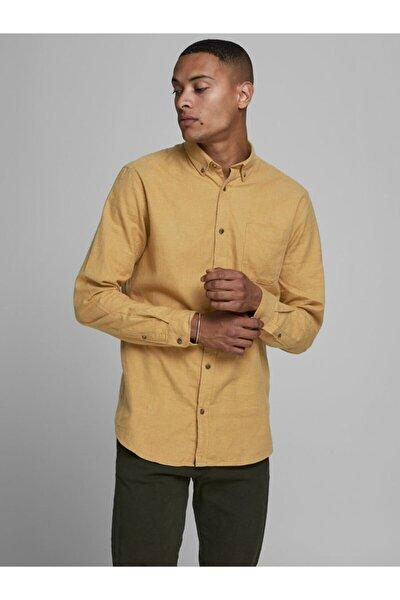 Erkek Sarı Classic Melange Gömlek (12172741-mg)