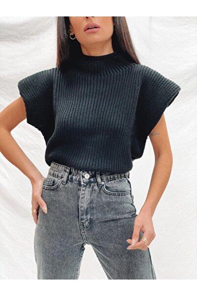 Kadın Siyah Vatkalı Örme Bluz