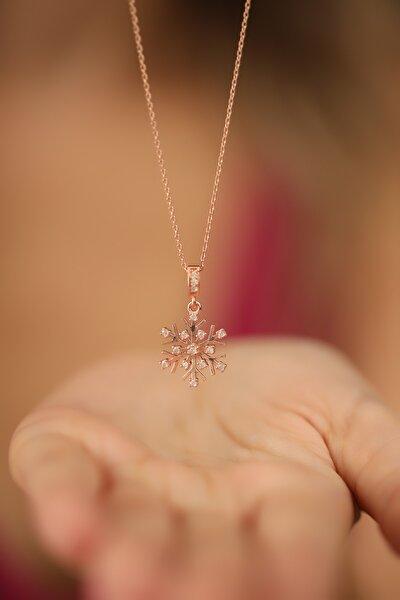 Kadın Kar Tanesi Model Rose Kaplama Gümüş Kolye NNVSLVR02223