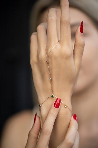 Kadın Karışık Taşlı Rose Kaplama Gümüş Şahmeran İZLASLVR00551