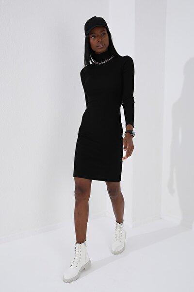 Balıkçı Yaka Siyah Kadın Kaşkorse Elbise