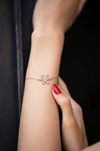 Kadın Kar Tanesi Model Zirkon Taşlı Rose Kaplama Gümüş Bileklik İZLASLVR00340