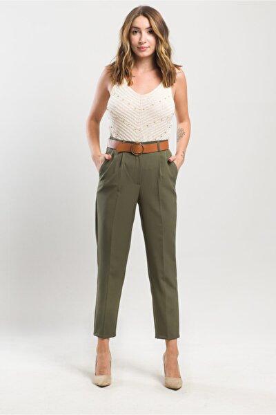 Kadın Haki Kemerli Double Casual Pantolon