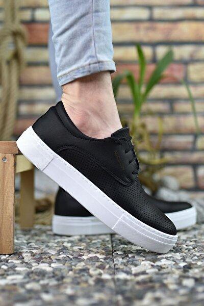 Erkek Siyah Beyaz Baskılı Sneaker 0012365