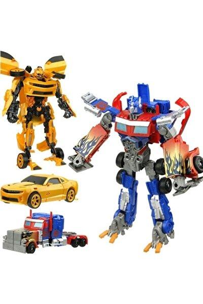 Oyuncak Robota Dönüşen Araba Transpormens Interchange Robota Dönüşebilen Optimus Prime Ve Bumblebee